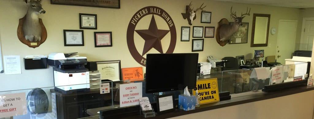 Inside Pickens Bail Bonds Office
